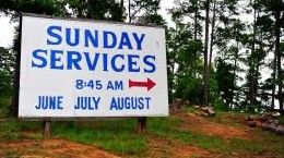 sunday lake services sign